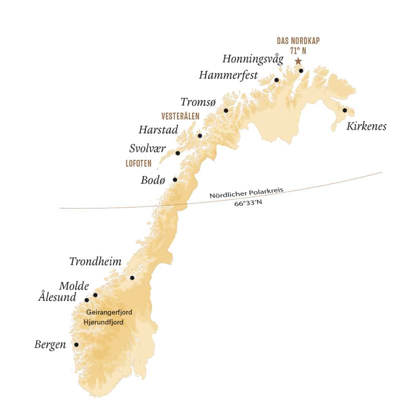 Karte Hurtigruten