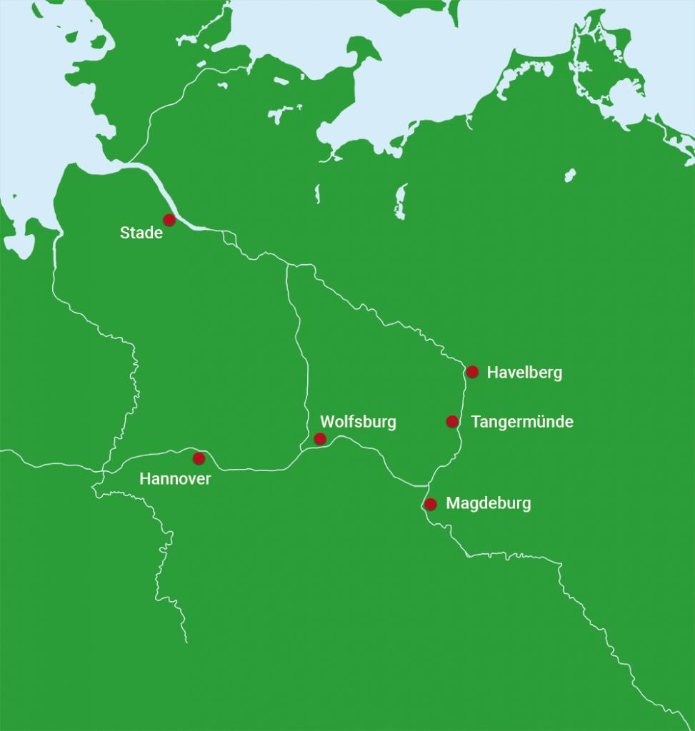 Karte Hannover nach Stade